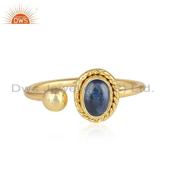 Natural Blue Sapphire Designer Gold Plated 925 Silver Ring Jewelry