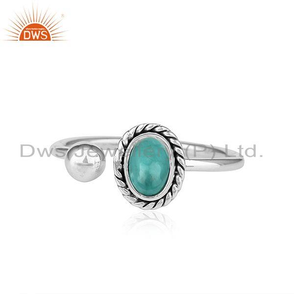 Arizona Turquoise Oxidized 92.5 Sterling Silver Ring Jewelry For Girls