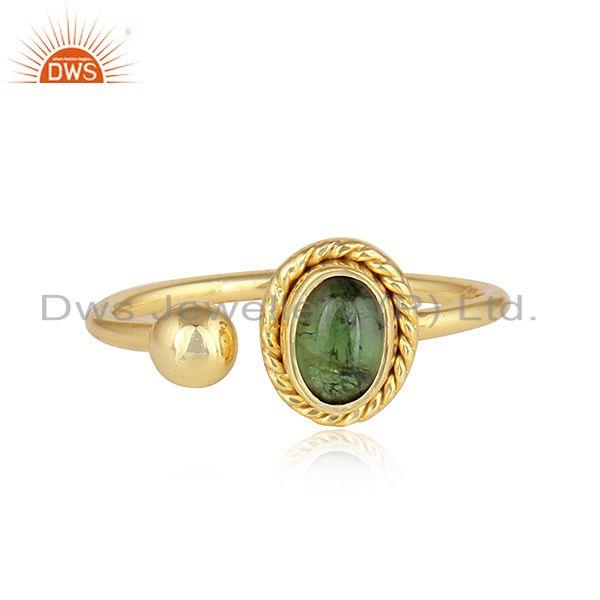 Green Tourmaline Gemstone Indian Gold Plated Silver Designer Rings