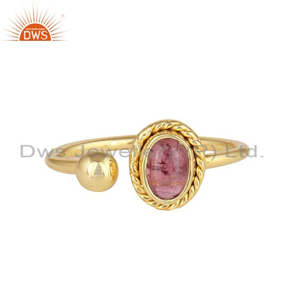 Pink Tourmaline Gemstone Womens Gold Plated Silver Ring Jewelry
