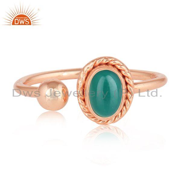 Green Onyx Gemstone Rose Gold Plated Silver Womens Rings Jewelry