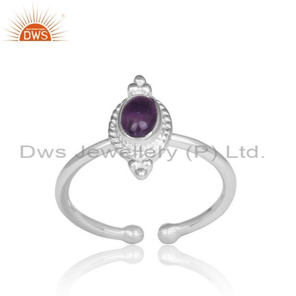Oval Amethyst Set Handmade Fine 925 Silver Traditional Ring