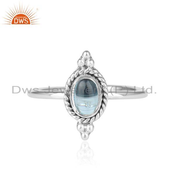 Blue Topaz Gemstone Oxidized Sterling Fine Silver Ring Jewelry
