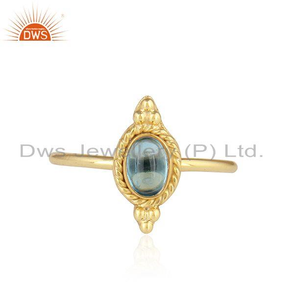 Natural Blue Topaz Gemstone Designer Gold Plated Silver Stackable Ring
