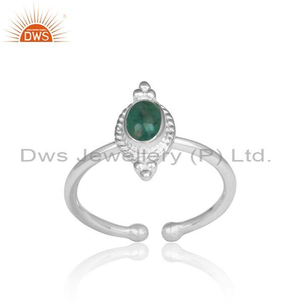 Oval Emerald Set Handmade Fine 925 Silver Adjustable Ring