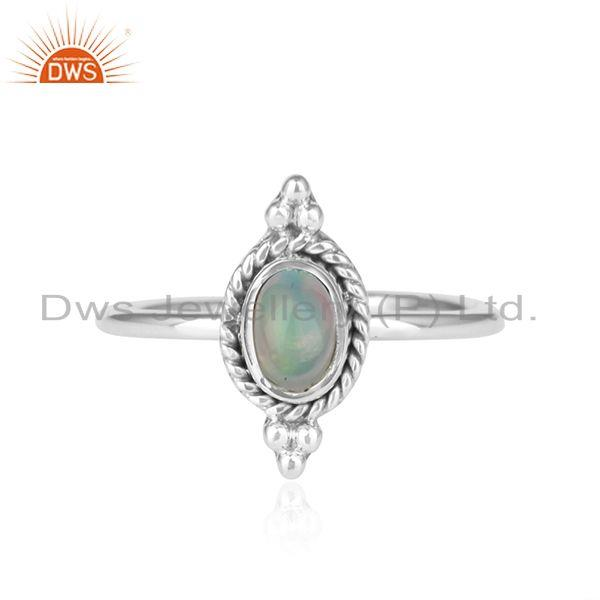 Ethiopian Opal Gemstone Sterling Silver Oxidized Ring Jewelry