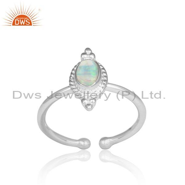 Ethiopian Opal Set Handmade Fine 925 Silver Adjustable Ring