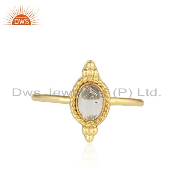 18k Gold Plated Stackable 925 Silver Ethiopian Opal Gemstone Rings