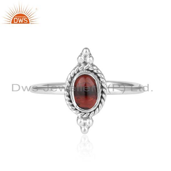 Natural Garnet Gemstone Oxidized 925 Sterling Silver Ring Jewelry