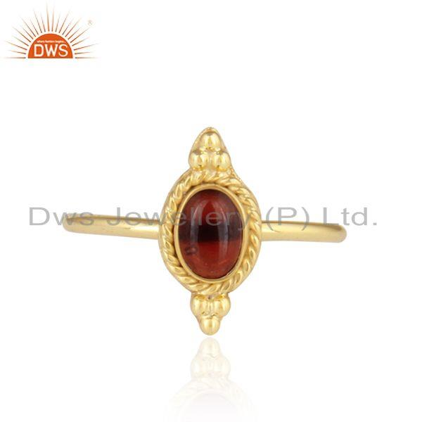 Handmade Gold Plated 925 Silver Garnet Gemstone Stackable Rings