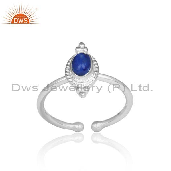 Oval Cut Lapis Set Handmade Fine 925 Silver Adjustable Ring