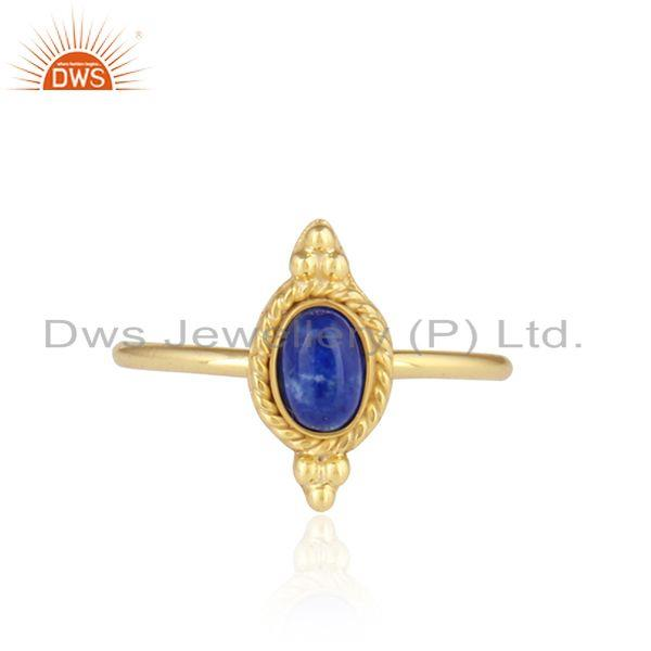 Lapis Lazuli Gemstone Designer Silver Gold Plated Stackable Rings