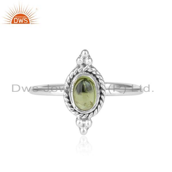 Peridot Gemstone Antique Design 92.5 Sterling Silver Ring Jewelry