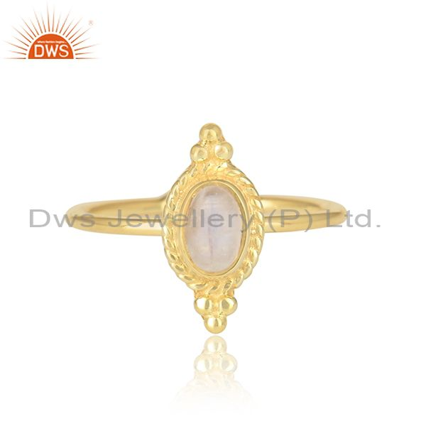 Rainbow Moonstone Stackable Gold Plated Silver Designer Rings