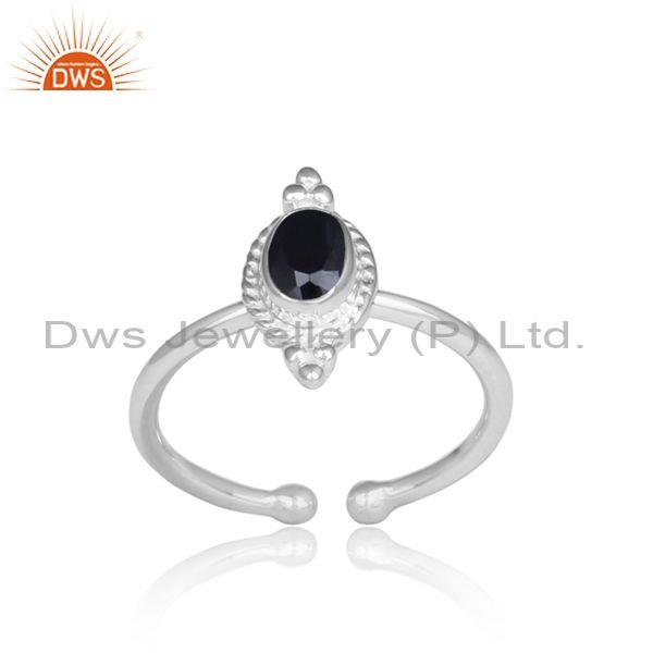 Oval Cut Black Spinal Handmade Fine Silver Adjustable Ring