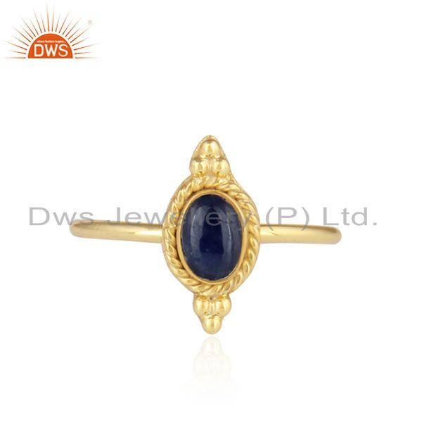 Blue Sapphire Designer Gold Plated 92.5 Silver Satckable Rings
