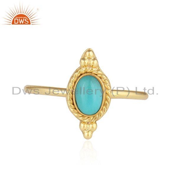 Arizona Turquoise Gemstone Stackable Gold Plated 925 Silver Rings