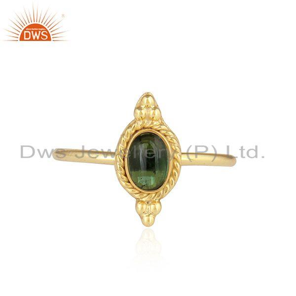 Gold Plated 92.5 Silver Green Tourmaline Gemstone Rings Jewelry