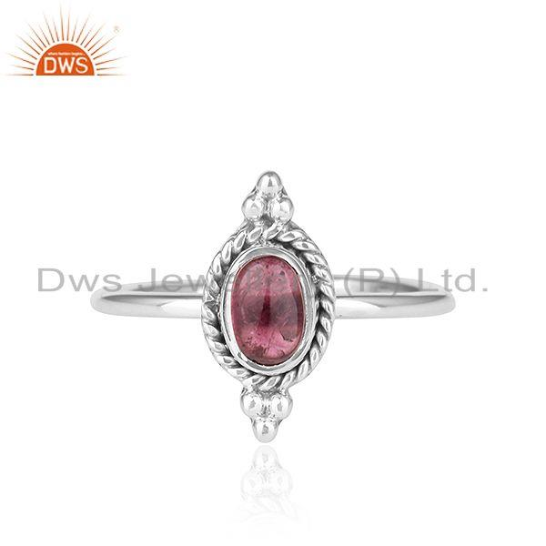 Pink Tourmaline Gemstone Oxidized Sterling Silver Ring Jewelry