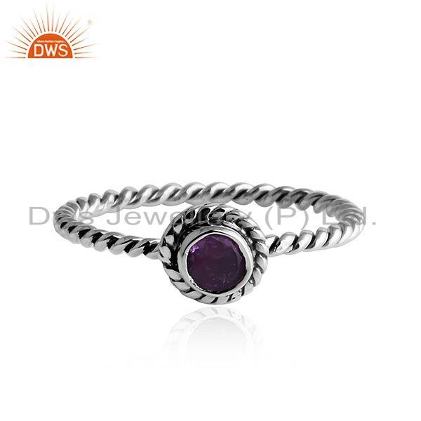 Twisted Antique Design Oxidized Silver Amethyst Gemstone Rings