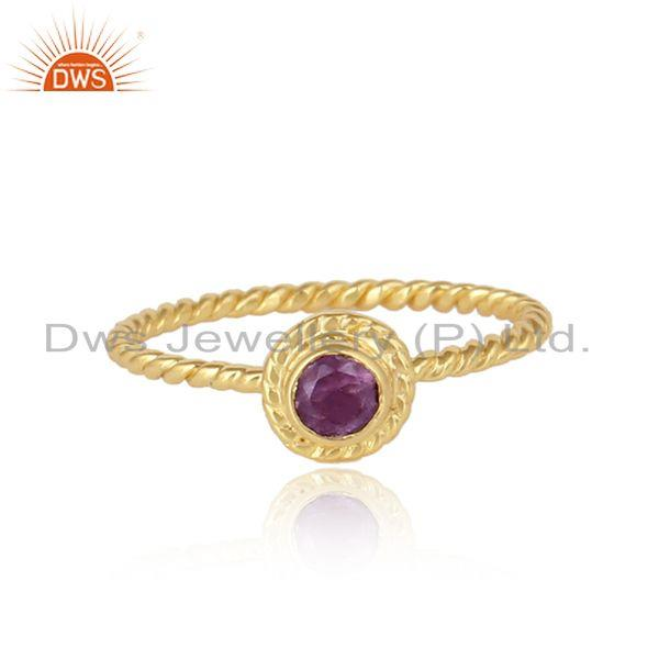 Twisted Design Gold Plated Silver Handmade Amethyst Gemstone Ring