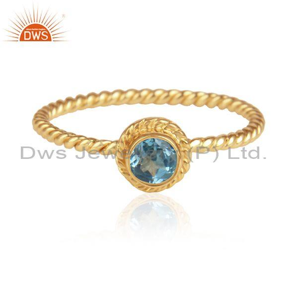 Blue Topaz Set Handmade Gold On Silver Fancy Twisted Ring