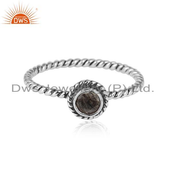 Black rutile gemstone twisted oxidized sterling silver ring jewelry