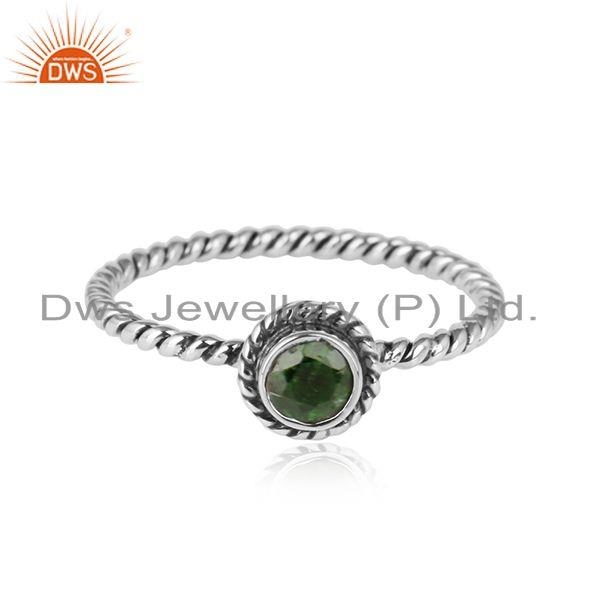 Chrome diopside handamde antique oxidized silver ring jewelry