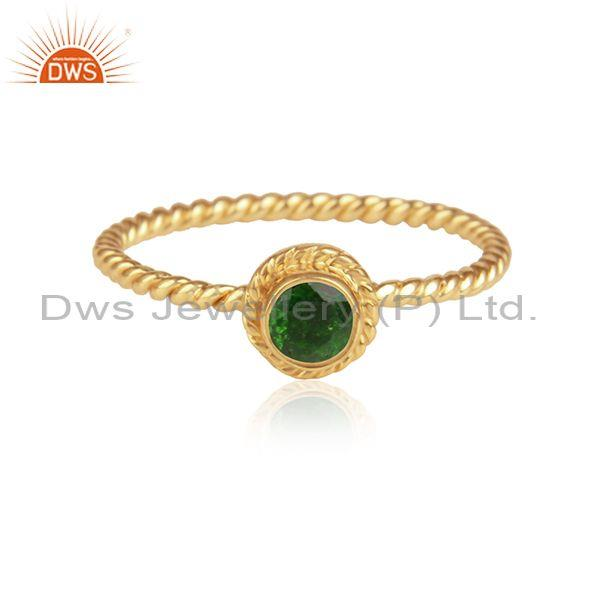 Chrome diopside set handmade gold on 925 silver twisted ring