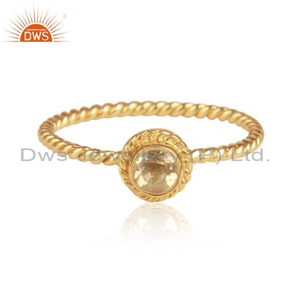 Citrine Set Handmade Gold On 925 Silver Fancy Twisted Ring