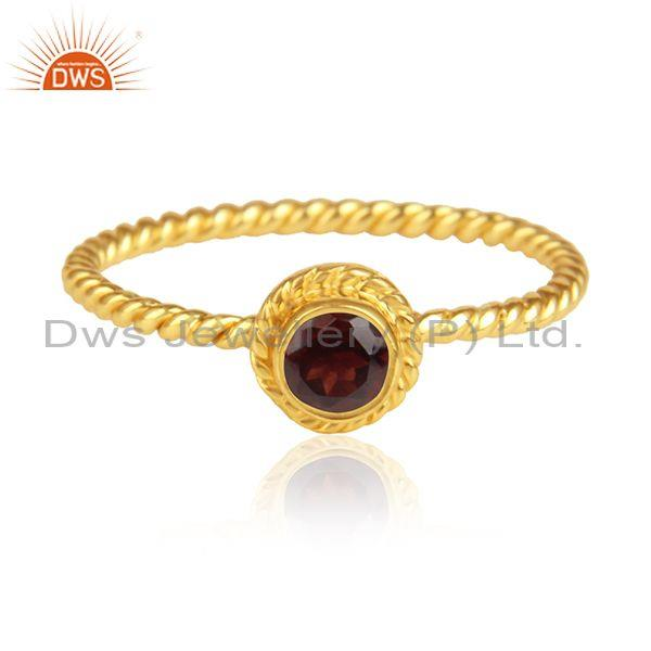 Red Garnet Set Handmade Gold On Silver Fancy Twisted Ring