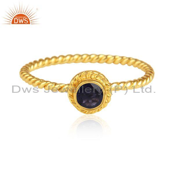 Iolite set handmade gold on 925 silver fancy twisted ring