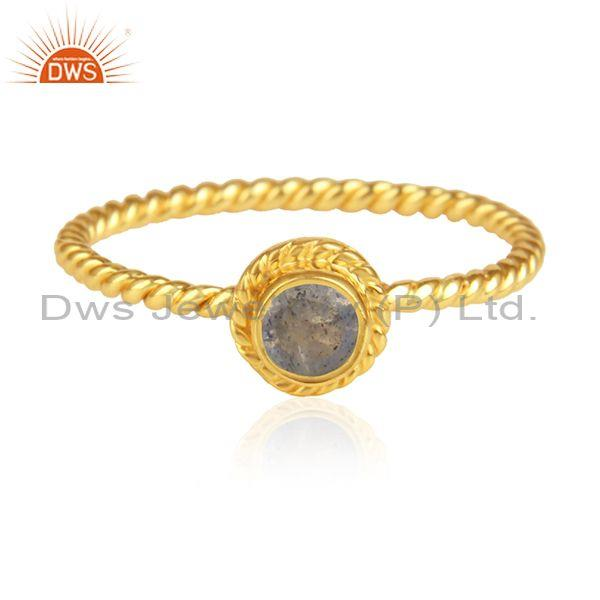 Labradorite Set Handmade Gold On Silver Fancy Twisted Ring