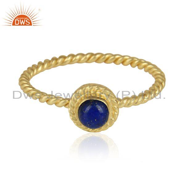 Natural Lapis Lazuli Gemstone Twisted Gold Plated Silver Rings