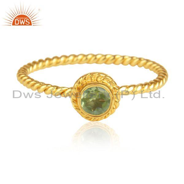 Peridot Set Handmade Gold On 925 Silver Fancy Twisted Ring