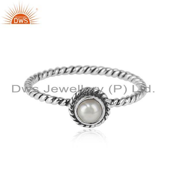 Twisted oxidized sterling silver natural pearl gemstone ring jewelry