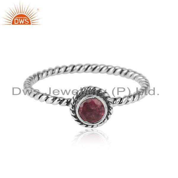 Pink Tourmaline Gemstone Handmade Twisted Design 925 Silver Rings