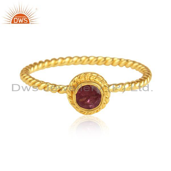 Pink Tourmaline Set Gold On 925 Silver Fancy Twisted Ring