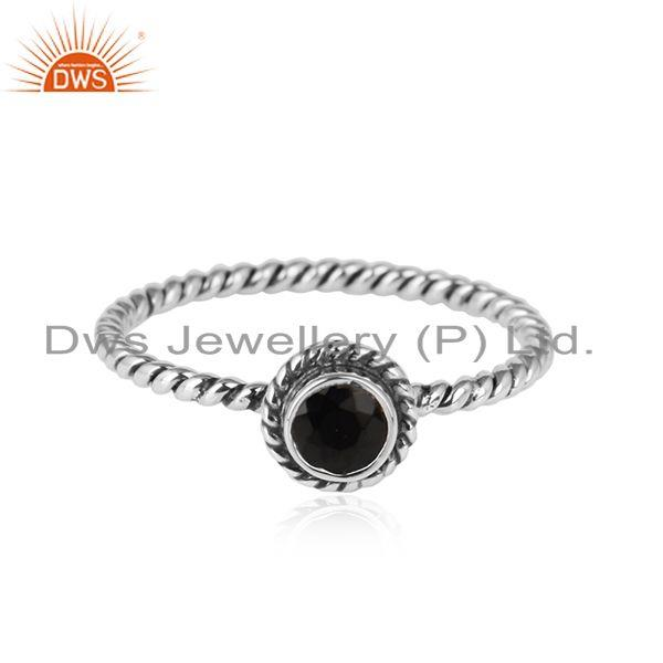Black Onyx Gemstone Twisted Wire Design Sterling Silver Ring Jewelry