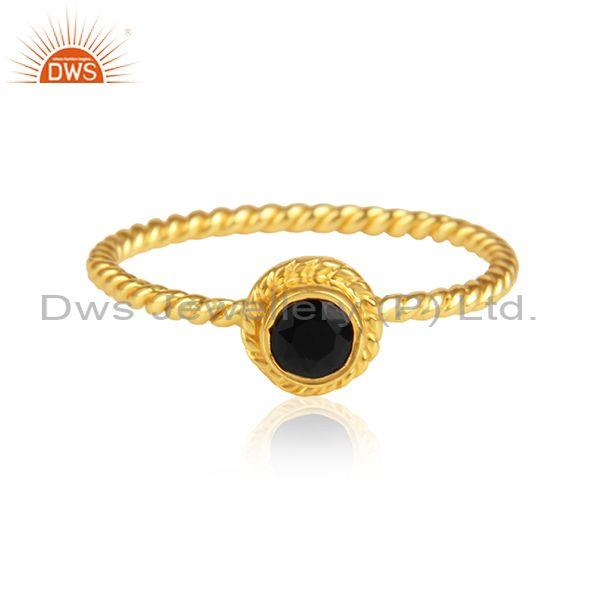 Black Onyx Set Gold On Silver Handmade Fancy Twisted Ring