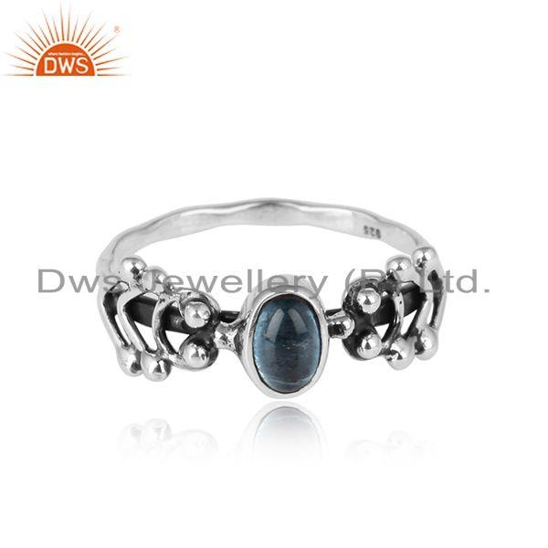 Blue topaz gemstone designer 925 sterling silver oxidized rings