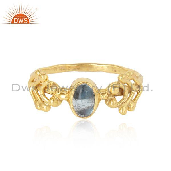 Handmade Gold Plated Silver Blue Topaz Gemstone Solitaire Rings