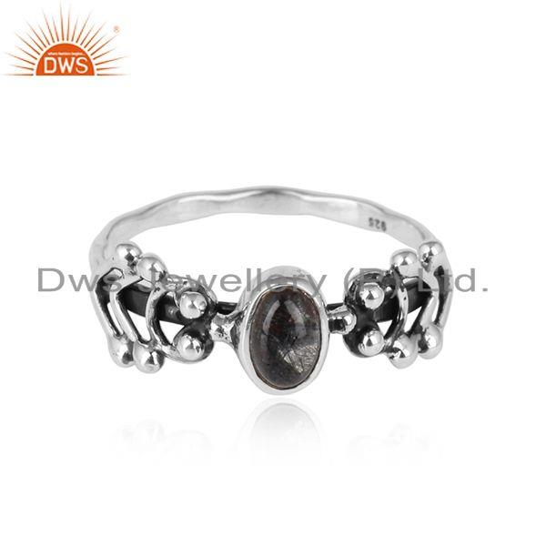 Black rutile gemstone handmade antique oxidized 925 silver rings