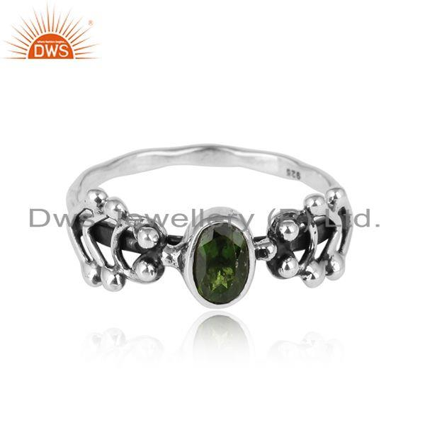 Chrome Diopside Gemstone Womens Handmade Oxidized Silver Rings