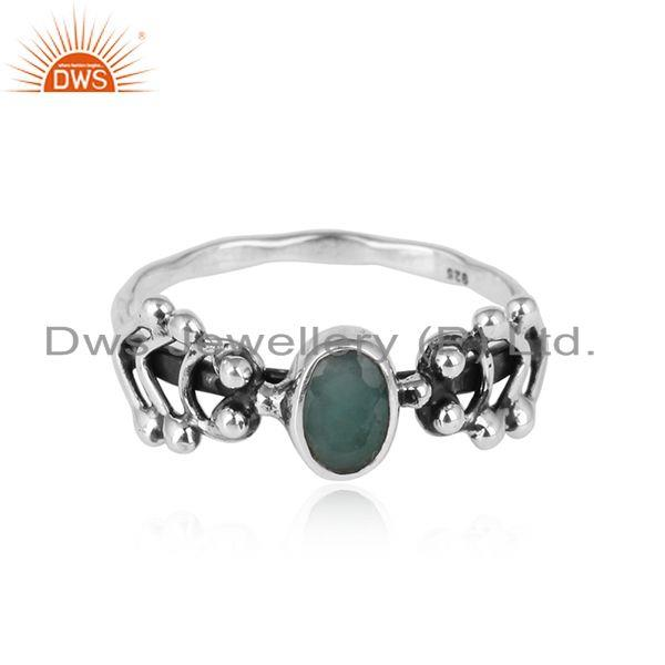 Natural Emerald Gemstone Handmade 925 Sterling Silver Womens Rings