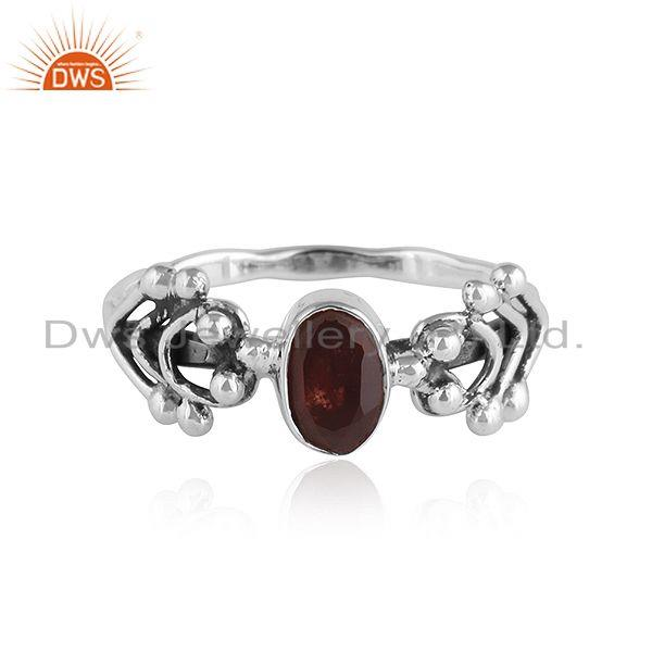 Natural Garnet Oxidized Silver 92.5 Silver Womens Ring Jewelry