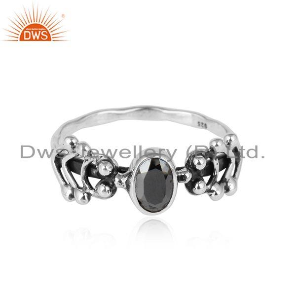 Hematite Gemstone Womens Oxidized Sterling Silver Ring Jewelry