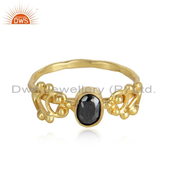 Hematite gemstone designer 18k gold plated 925 silver rings