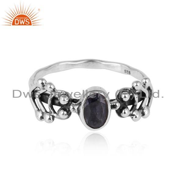Iolite Gemstone Oxidized 925 Sterling Silver Designer Ring Jewelry
