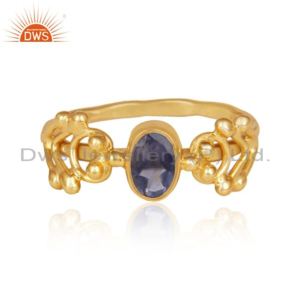 Iolite set gold on silver handmade designer statement ring